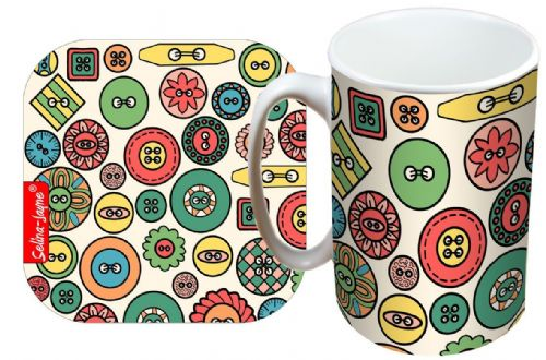 Selina-Jayne Buttons Limited Edition Designer Mug and Coaster Gift Set